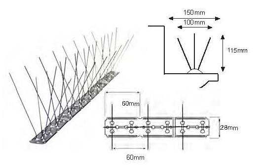 Pinchos palomas Spiketrack M140 LM