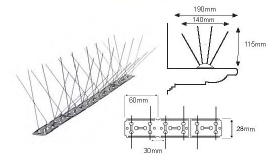 Pinchos palomas Spiketrack M170 LM