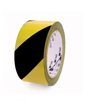 cinta vinilo color negro amarillo, señalizacion